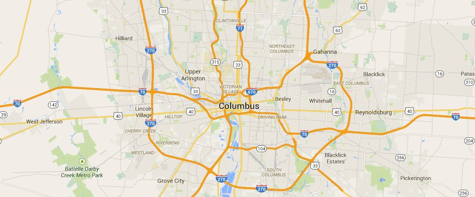Columbus Dumpster Rental Service Area Map