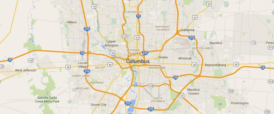 Columbus Dumpster Rental Service Area Map